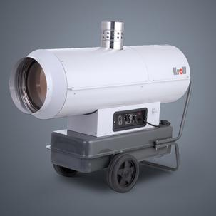 Mobile oil-fired heaters with flue gas pipe